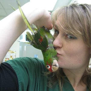 BABEH's assistant Zoe goofs off with her rescue conure.